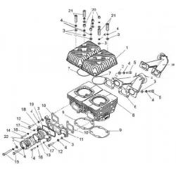 Цилиндровая группа и элементы систем впуска и выпуска 1 карб.