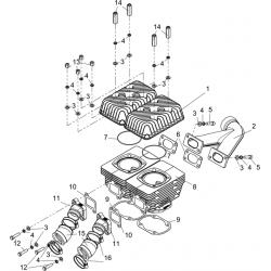 Цилиндровая группа и элементы систем впуска и выпуска 2 карб.